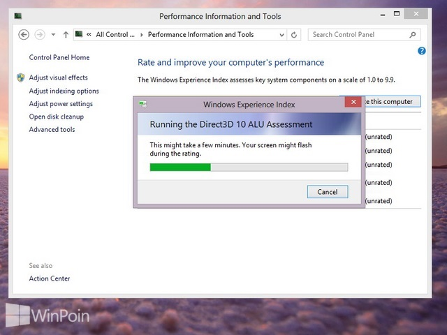 Cara Update atau Refresh Score Windows Experience Index di Windows 8