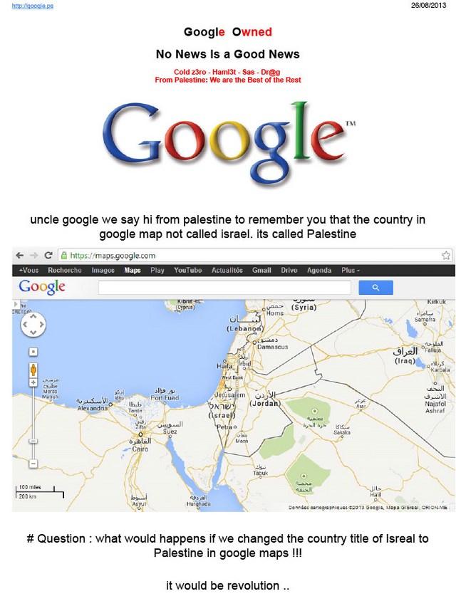 Google Dihack Karena Tidak Menampilkan Peta Palestina di Google Maps