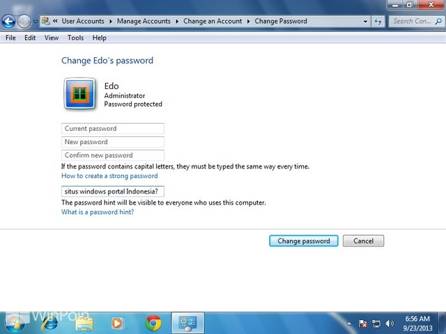 Cara Membuat Password Hint di Windows 7
