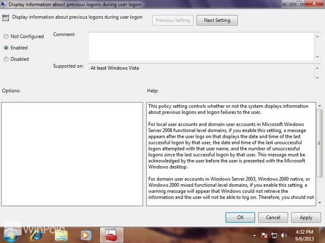 Cara Menampilkan Informasi Tentang Kapan Login Windows 7