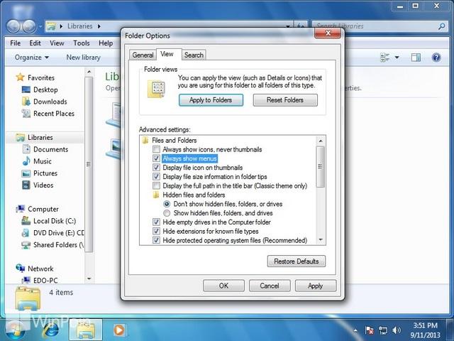 Cara Mengaktifkan dan Menghilangkan Menu Bar di Windows 7