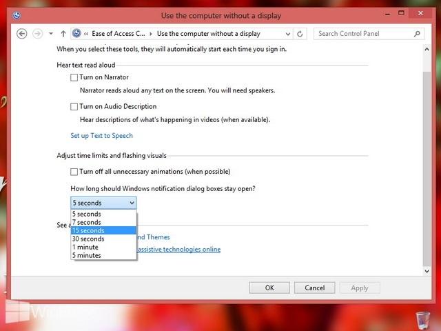 Cara Mengatur Berapa Lama Waktu Notifikasi Tetap Terbuka di Windows 7