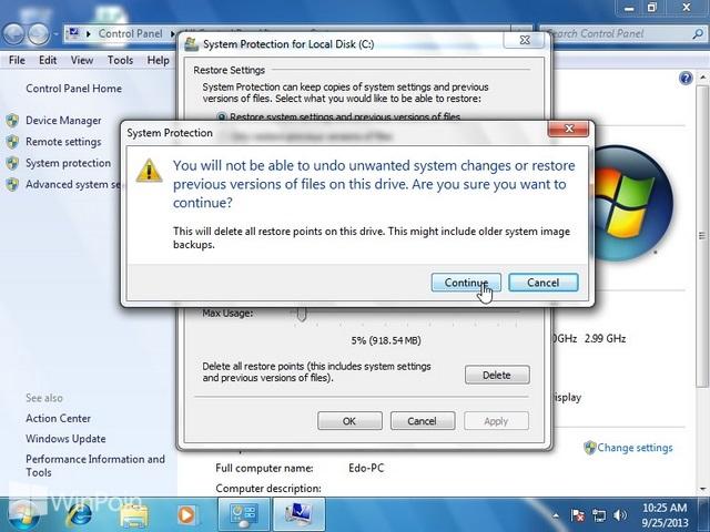 Cara Menghapus System Restore Point di Windows 7
