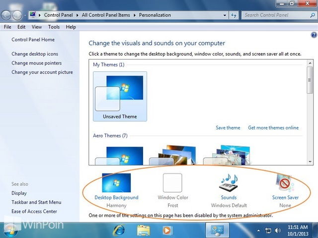 Cara Mematikan Pengaturan Window Color dan Appearance Windows 7