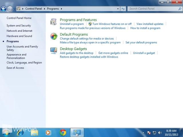 Cara Mengkatifkan dan Mematikan Fitur di Windows 7