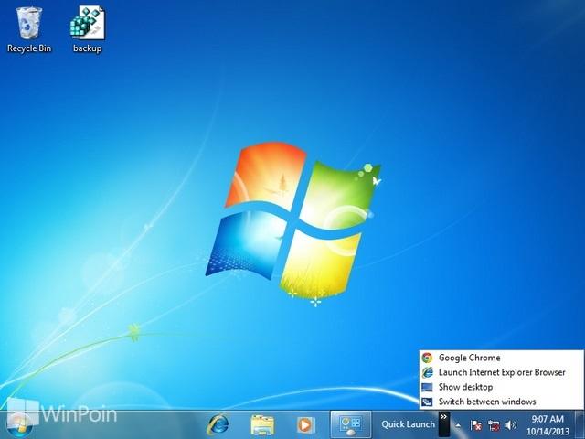 Cara Mengaktifkan dan Mematikan Quick Launch Windows 7