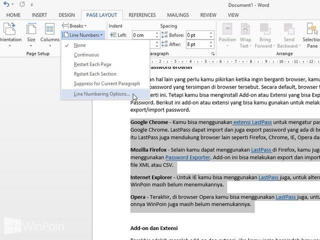 Cara Menambahkan Nomor Setiap Baris Margin di Word 2013