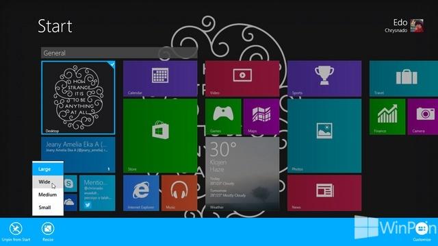 Cara Mengubah Ukuran Tile Aplikasi Start Screen di Windows 8.1