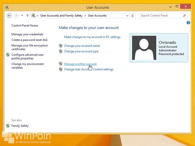 Cara Menghapus User di Windows 8.1