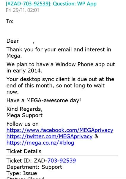 Layanan Cloud Storage Mega Akan Segera Hadir di Windows Phone