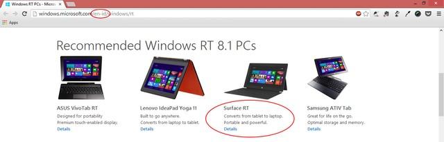 Surface RT Sudah Dihapus dari Halaman Microsoft Region Indonesia