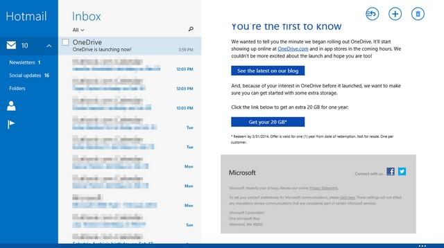 Cek Email Kamu, Mungkin Kamu Mendapatkan 20 GB dari OneDrive