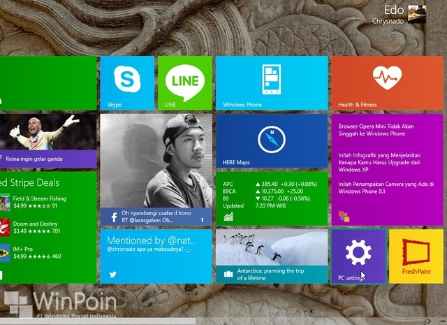 Cara Menambahkan PC Settings di Start Screen Windows 8.1