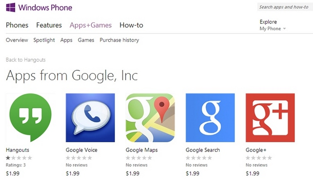 Google Hangouts, Maps, Voice, Search, Gmail, dan Google+ Palsu Muncul di Windows Phone Store