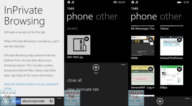 Ada Fitur InPrivate Browsing di IE11 Windows Phone 8.1