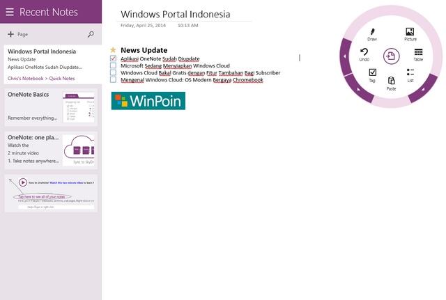 OneNote untuk Windows 8.1 Baru Saja Diupdate dan Kini Lebih Hemat Memory