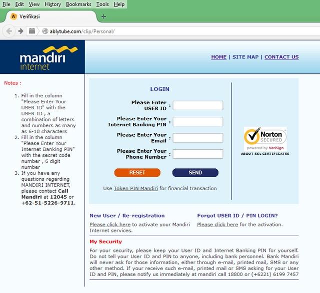 Awas Jangan Sampai Tertipu, Situs Phishing Bank Mandiri ...
