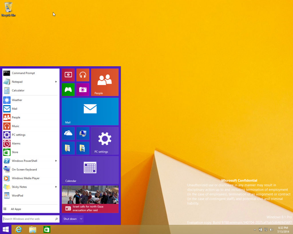 Inilah Start Menu dan Apps yang Berjalan di Desktop Windows 9 (Leaked!)