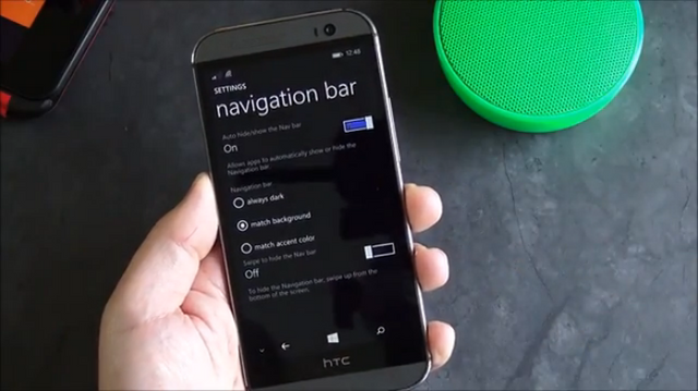 Inilah Cara Kerja Nav Bar Windows Phone 8.1 di HTC One