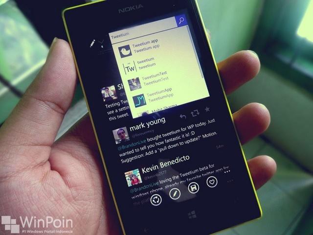 Tweetium Beta Windows Phone 8.1 Telah Mendukung Cortana