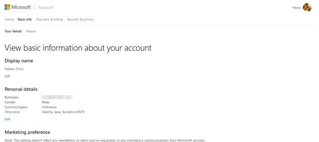 Tampilan Baru Microsoft Account