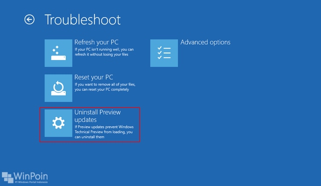 Cara Uninstall Update di Windows 10 Preview