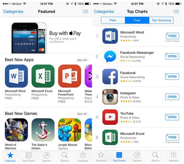 Setelah Digratiskan, Microsoft Office Menjadi Aplikasi Paling Populer di iOS