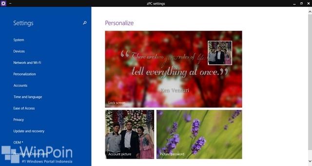 zPC Setting Windows 10
