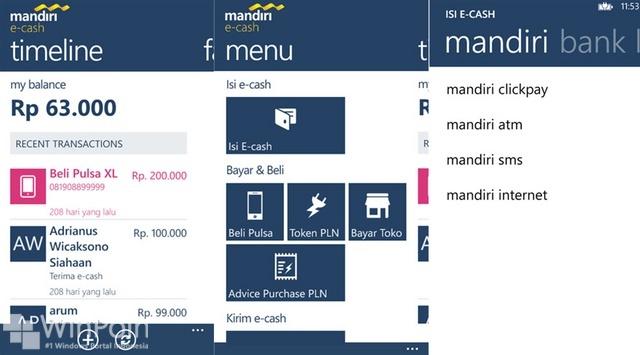 Aplikasi Mobile Banking untuk Windows Phone