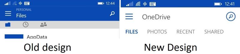 Update OneDrive untuk Windows Phone, Tampilan Dirombak Ulang