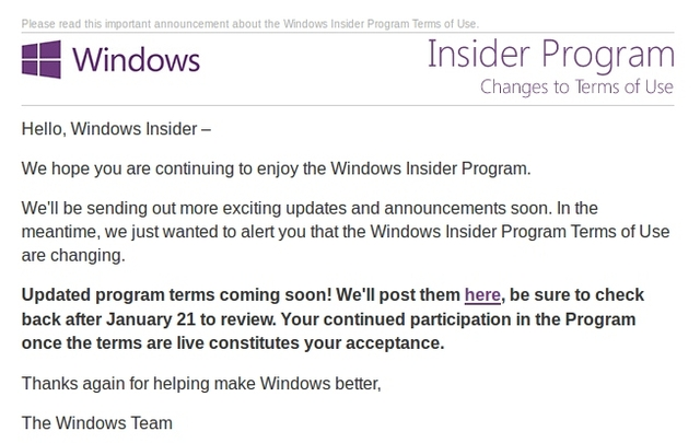 Term of Use Windows Insider Bakal Diubah 21 Januari 2015 Besok