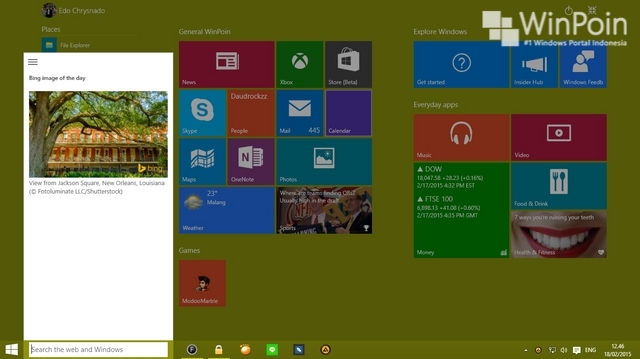 Cara Custom Start Menu di Windows 10