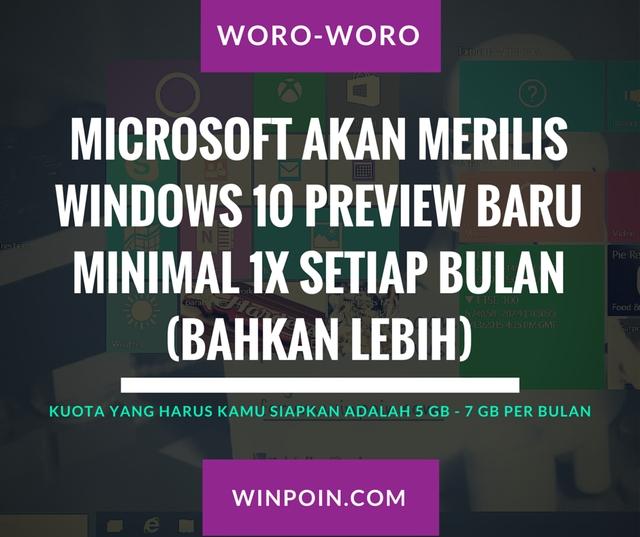 Microsoft Akan Merilis Windows 10 Preview Baru Minimal 1x Setiap Bulan (Bahkan Lebih)