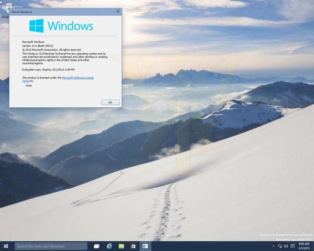 Inilah Tampilan Windows 10 Build 10031 yang Bocor ke Publik