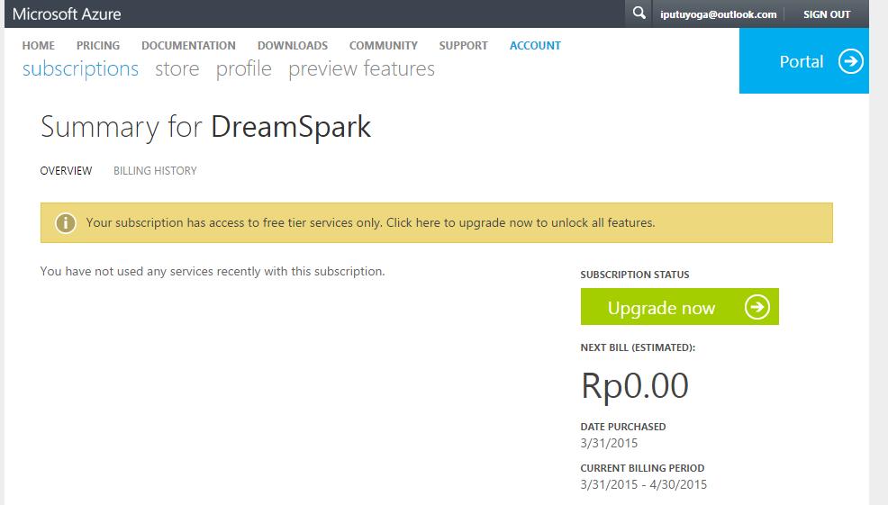 Cara Daftar Azure via Dreamspark