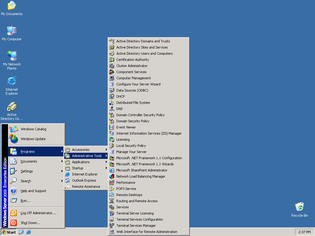 Tampilan Windows server 2003