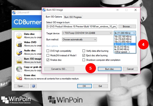 how to burn an iso in win 10