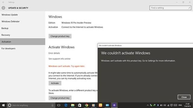 Inilah Kenapa Beberapa Insider Mengalami Masalah Aktivasi di Windows 10 Preview Terbaru