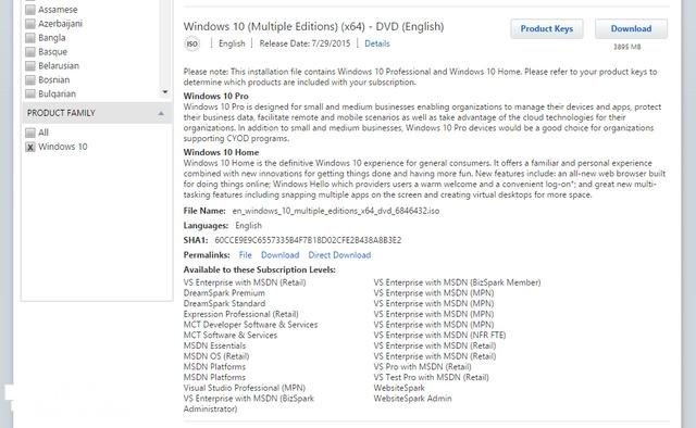 Member MSDN Sudah Bisa Download Windows 10 Final Sekarang— Dari versi Pro, Home, Education, Enterprise, hingga IoT SudahTersedia