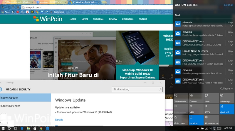 Windows 10 build 10240 Mendapatkan 3 Patch Baru, Cek Windows Update Kamu!