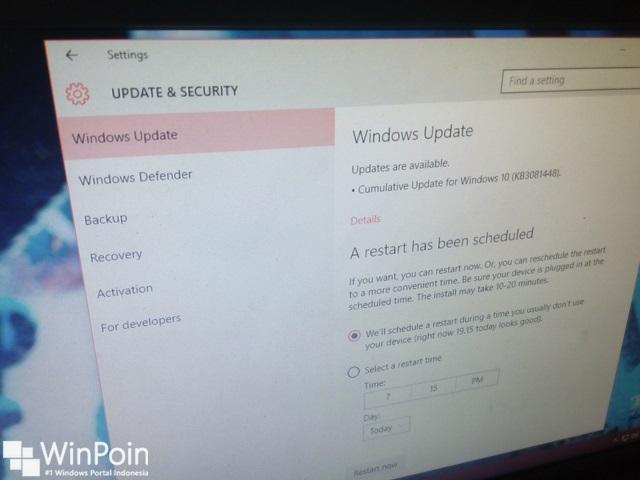 Cara Mengatur Schedule Windows Update di Windows 10
