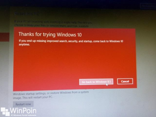 Cara Downgrade Windows 10 ke Windows 8.1