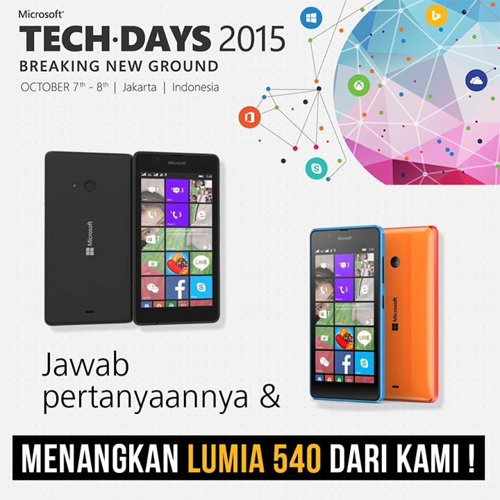 Ikuti Kuis Event TechDays Ini dan Dapatkan Lumia 540