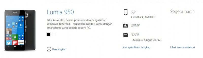 Lumia 950 Sudah Muncul di Halaman Official Lumia Indonesia