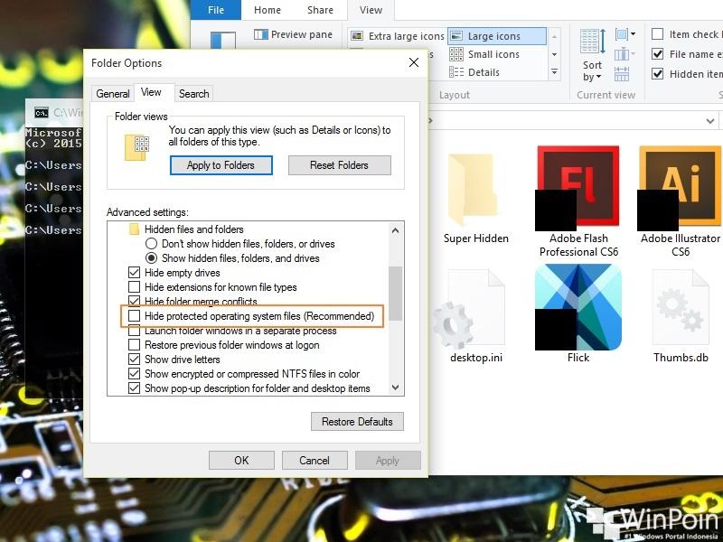 Cara Membuat File/Folder Super Hidden di Windows