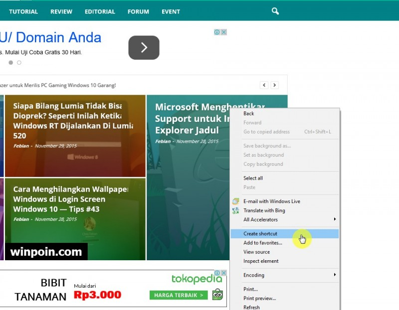 Cara Pin Website Favorit Kamu ke Start Menu Windows 10