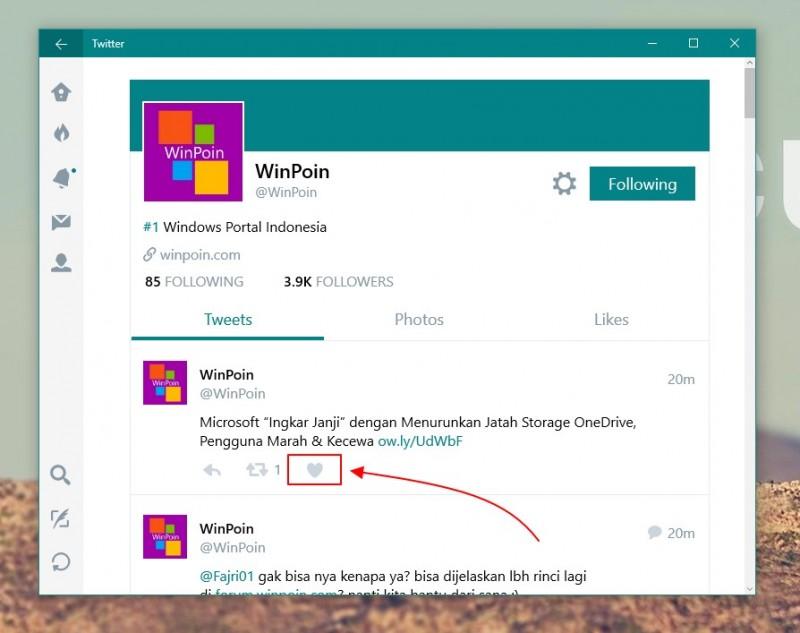 Twitter Mengganti Tombol Favorites dengan Like (dan Mengupdate Windows 10 Apps nya)