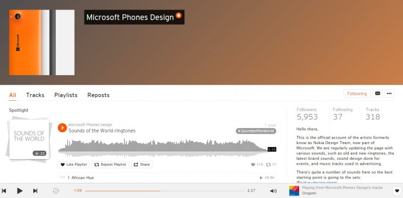 Soundcloud Microsoft Phone Design