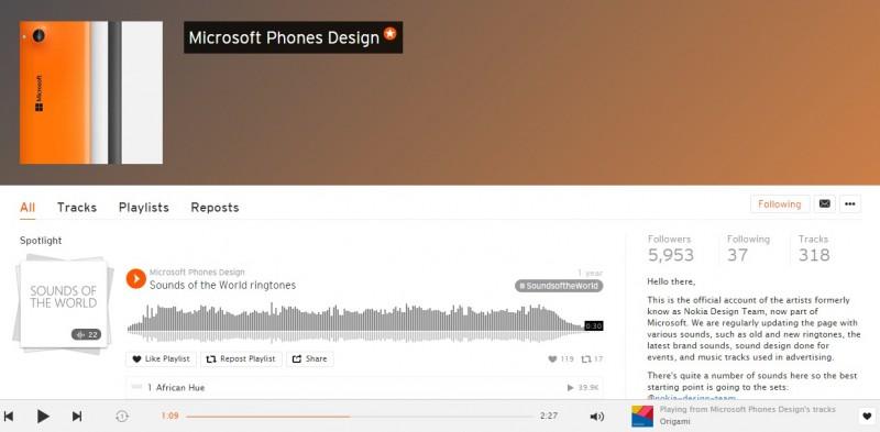Soundcloud Microsoft Phone Design
