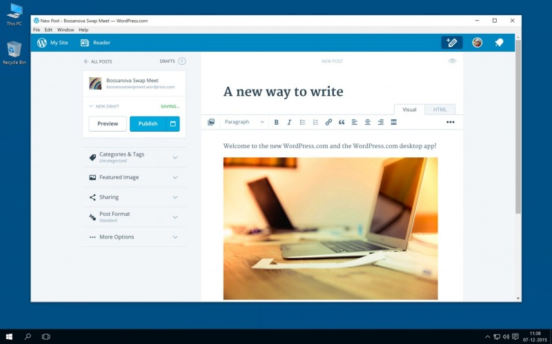 Hello Blogger, WordPress Merilis Aplikasi Desktop untuk Windows!